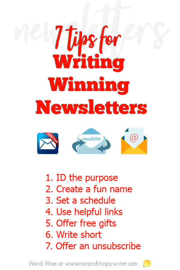 7 tips for #writing winning newsletters with Word Wise at Nonprofit Copywriter #nonprofits #FreelanceWriting #ContentWriting