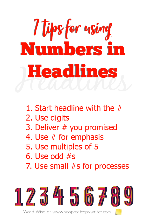 7 tips for using numbers in headlines with Word Wise at Nonprofit Copywriter #WritingTips #FreelanceWriting #ContentWriting