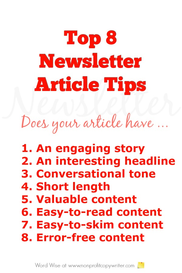 Top 8 newsletter article tips. Great for content writers, freelancers, entrepreneurs. Word Wise at Nonprofit Copywriter