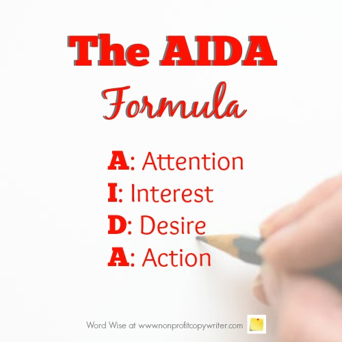 The AIDA formula with Word Wise at Nonprofit Copywriter