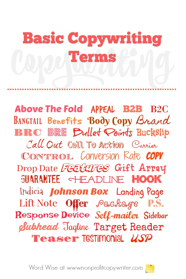 Basic #copywriting terms to know for copywriters and content writers with Word Wise at Nonprofit Copywriter #WritingTips #amwriting