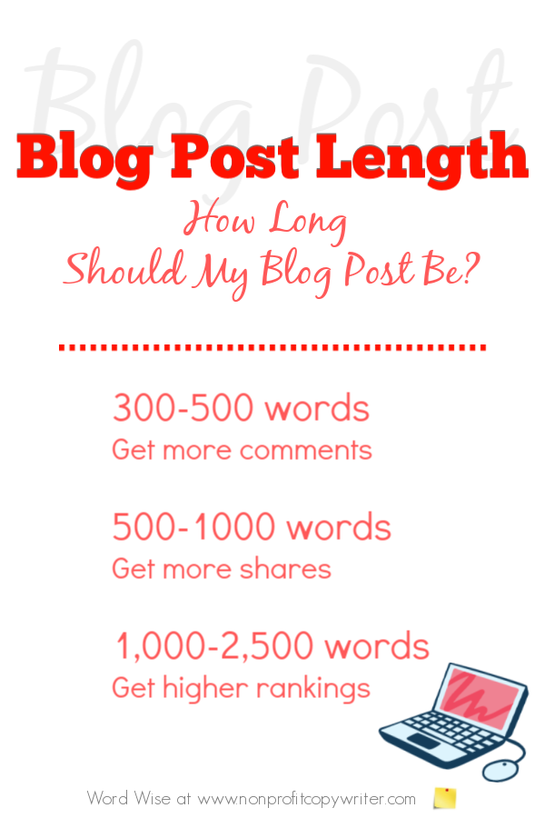 Blog post length: how long should your blog post be? with Word Wise at NonprofitCopywriter #blogging #Christianblogger #WritingTips
