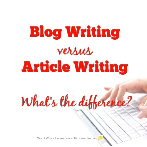 Writing blogs vs writing articles: what's the difference? With Word Wise at Nonprofit Copywriter