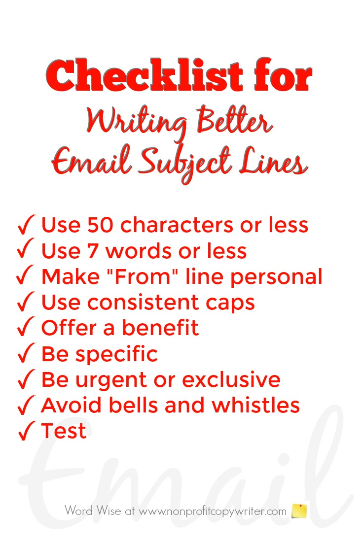 Download this checklist for writing better email subject lines with Word Wise at Nonprofit Copywriter