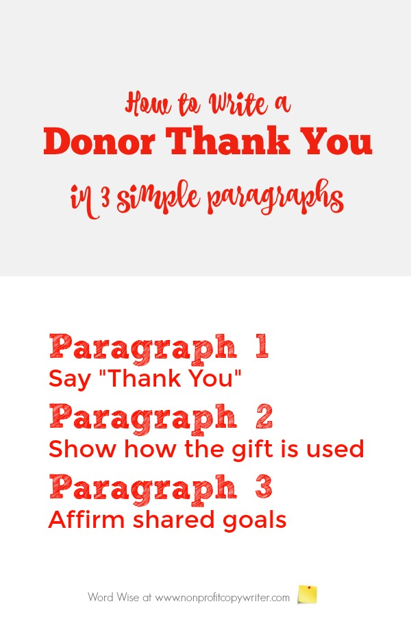 How to write a donor thank you letter in 3 paragraphs with Word Wise at Nonprofit Copywriter
