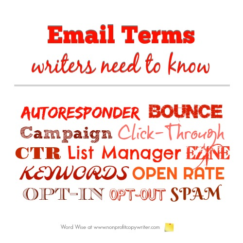 Email terms and ezine terms for writers with Word Wise at Nonprofit Copywriter