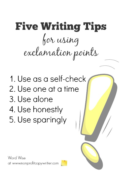 Five writing tips for using exclamation points with Word Wise at Nonprofit Copywriter