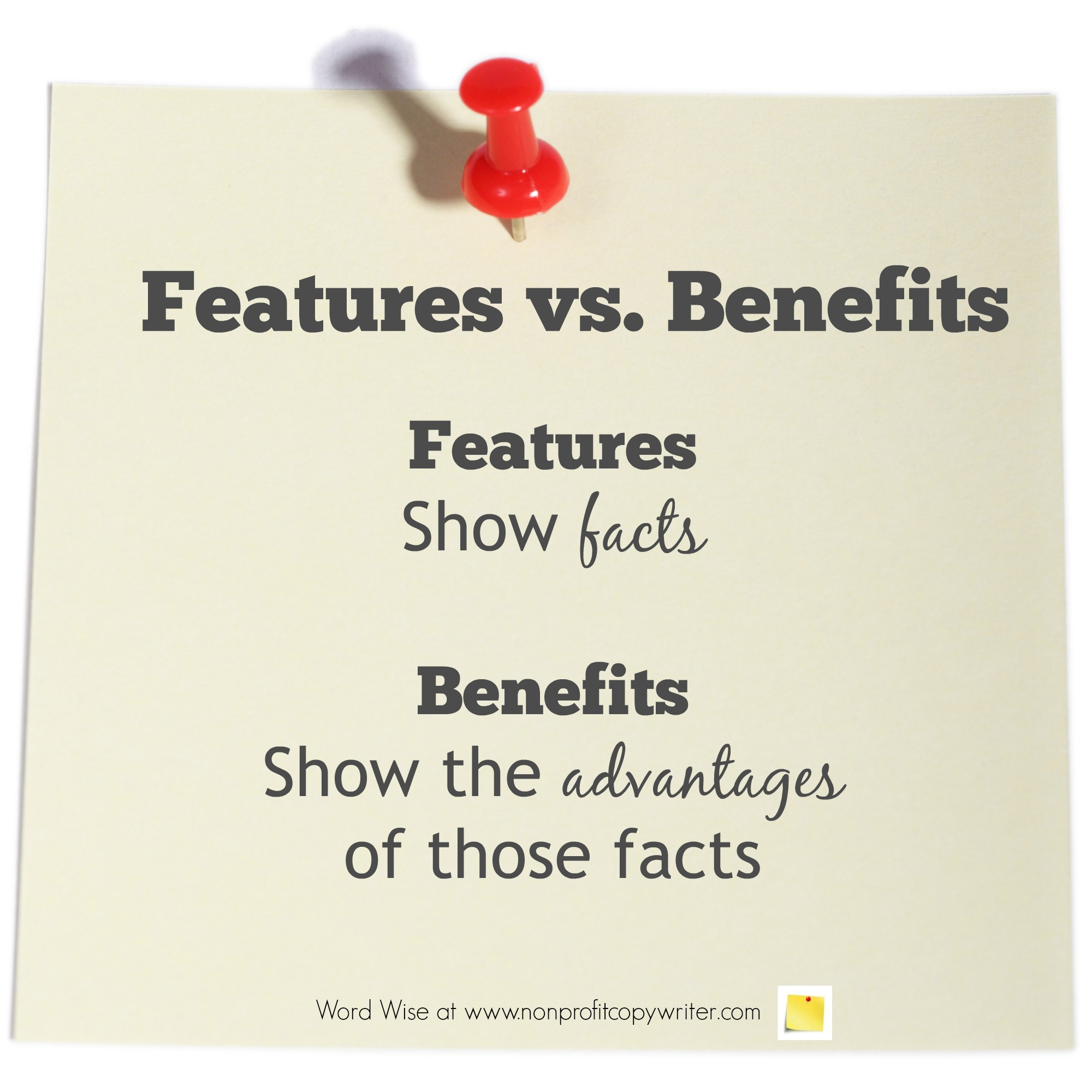 Feature or Benefit with Word Wise at Nonprofit Copywriter