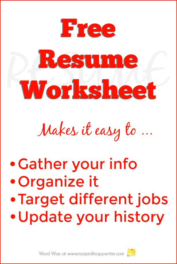 Free Resume Worksheet To Build Your Resume