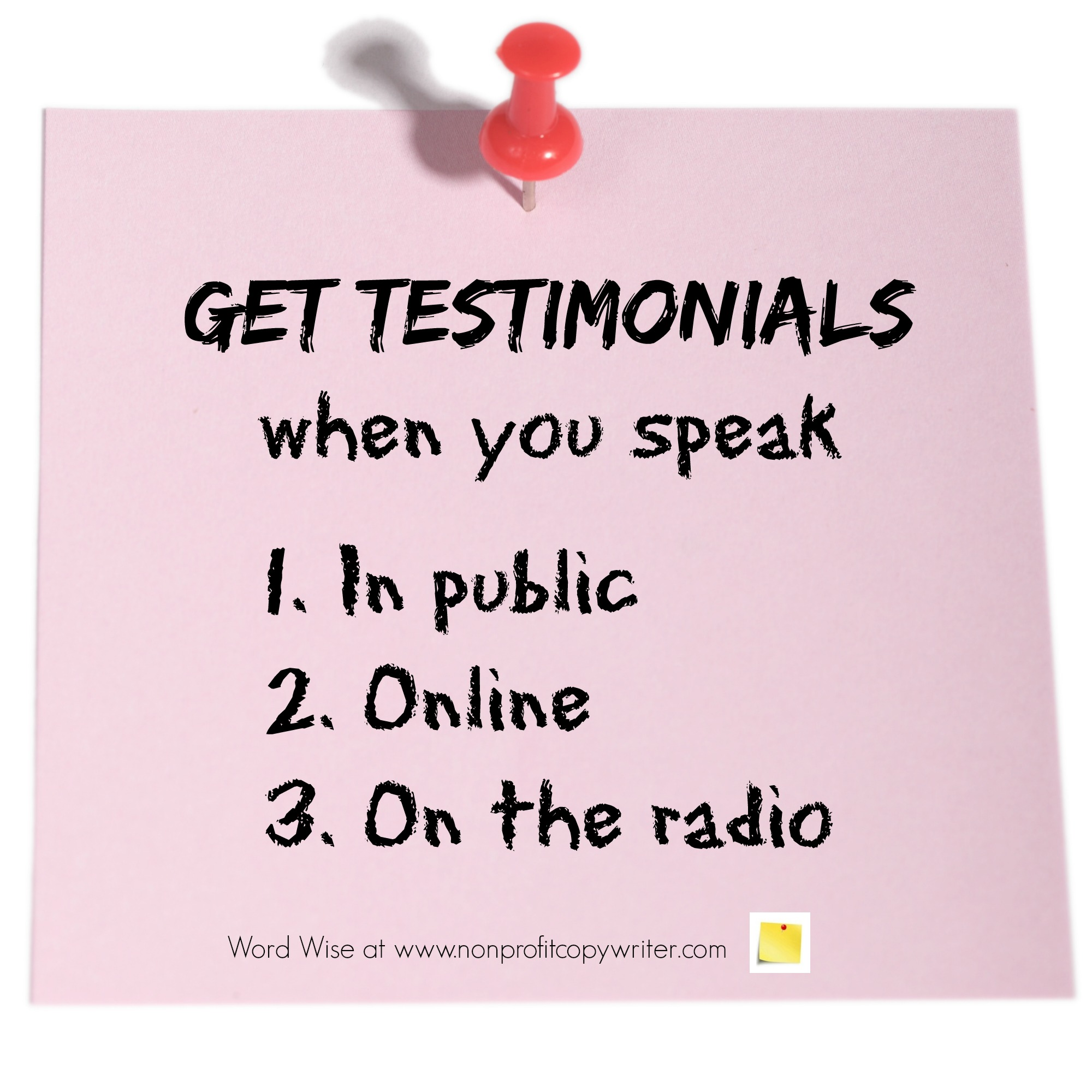 Get testimonials when you speak with Word Wise at Nonprofit Copywriter