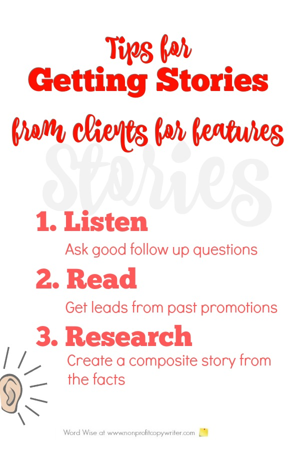 3 tips for getting stories from clients to write features with Word Wise at Nonprofit Copywriter