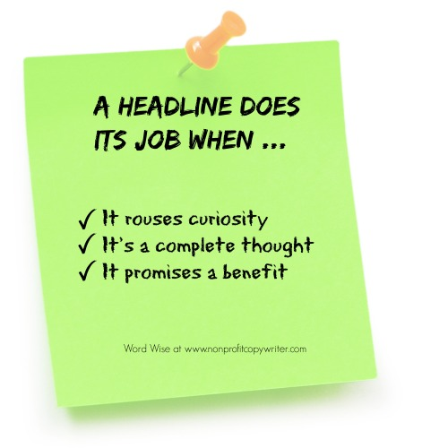 How to know when a headline does its job with Word Wise: Nonprofit Copywriter
