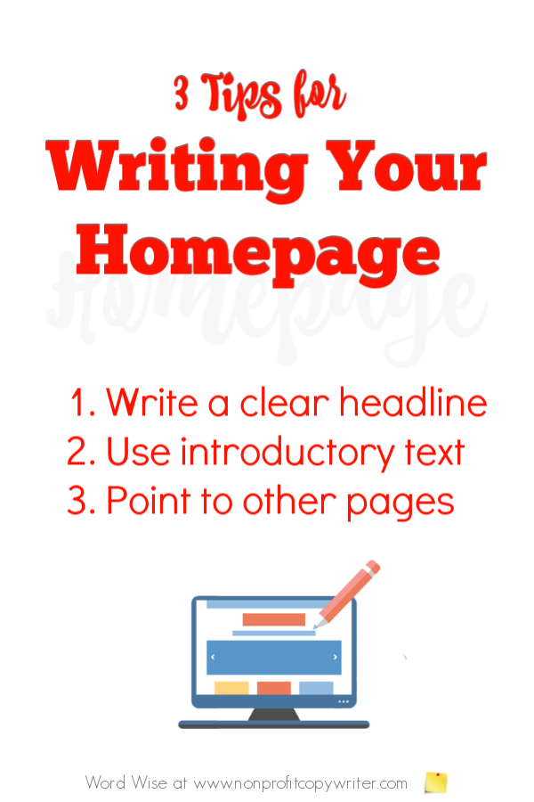 Writing Homepage Content: 3 #WritingTips with Word Wise at Nonprofit Copywriter #OnlineWriting #FreelanceWriting