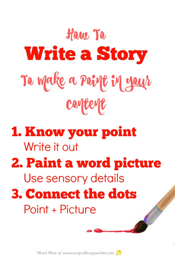 How to write a story to make a point in content or copy with Word Wise at Nonprofit Copywriter