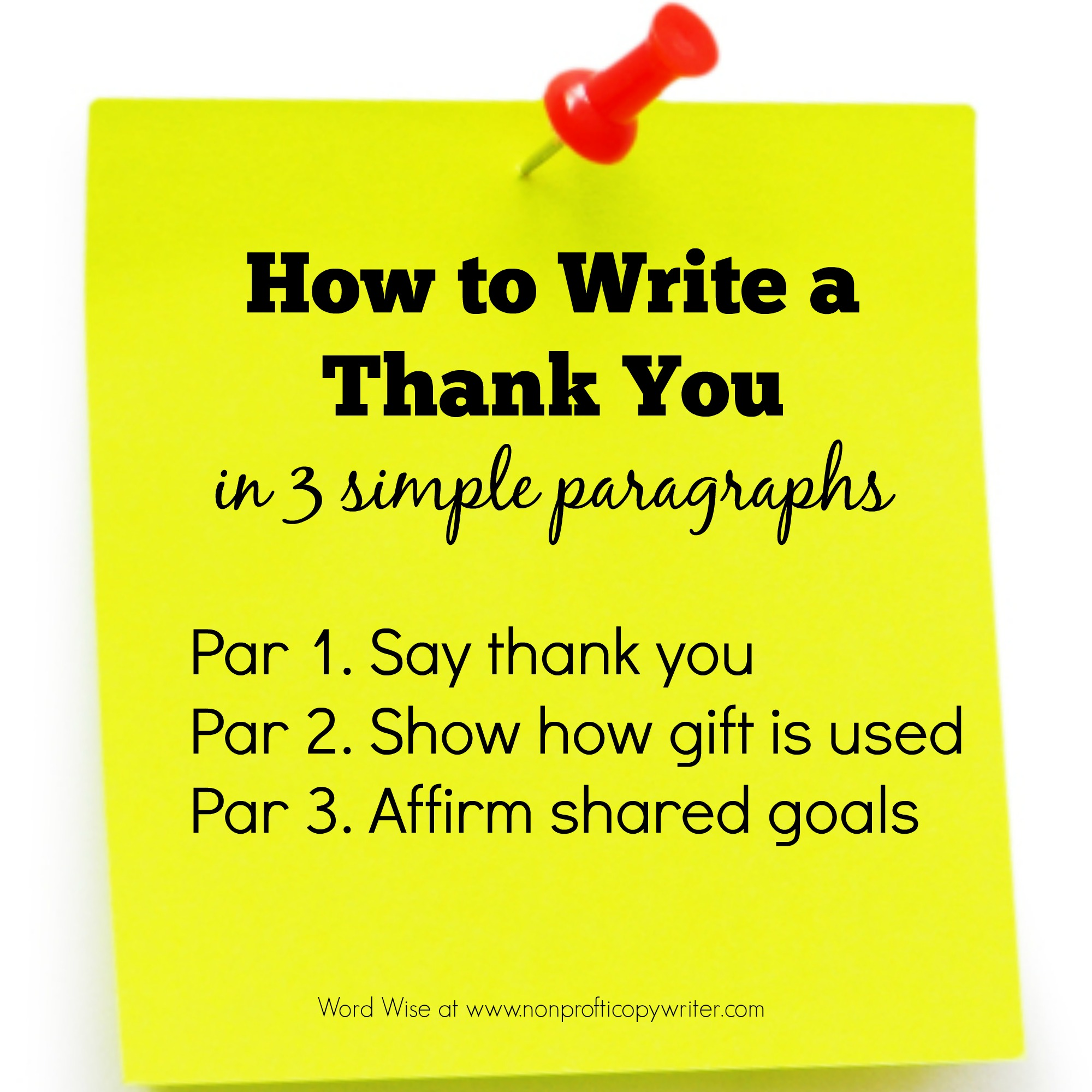 How to write a thank you letter in 3 simple paragraphs with Word Wise at Nonprofit Copywriter