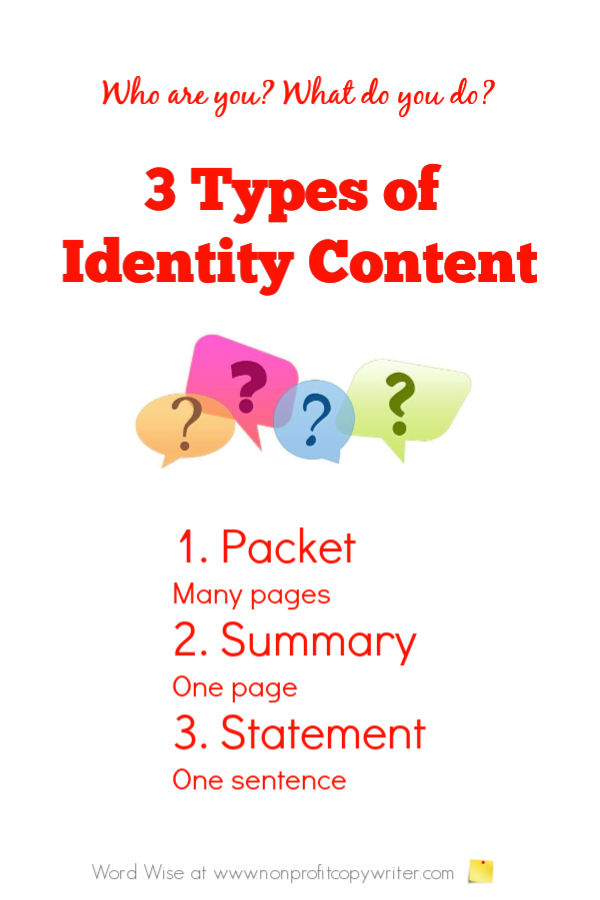 Tips for writing better content that explains your organization's identity with Word Wise at Nonprofit Copywriter #WritingTips #ContentWriting