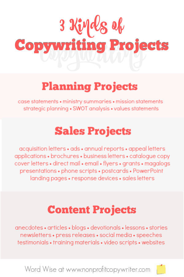 3 kinds of #copywriting projects with Word Wise at #Nonprofit Copywriter. #WritingTips #FreelanceWriting