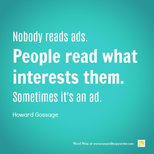 Nobody reads ads. Or do they? With Word Wise at Nonprofit Copywriter