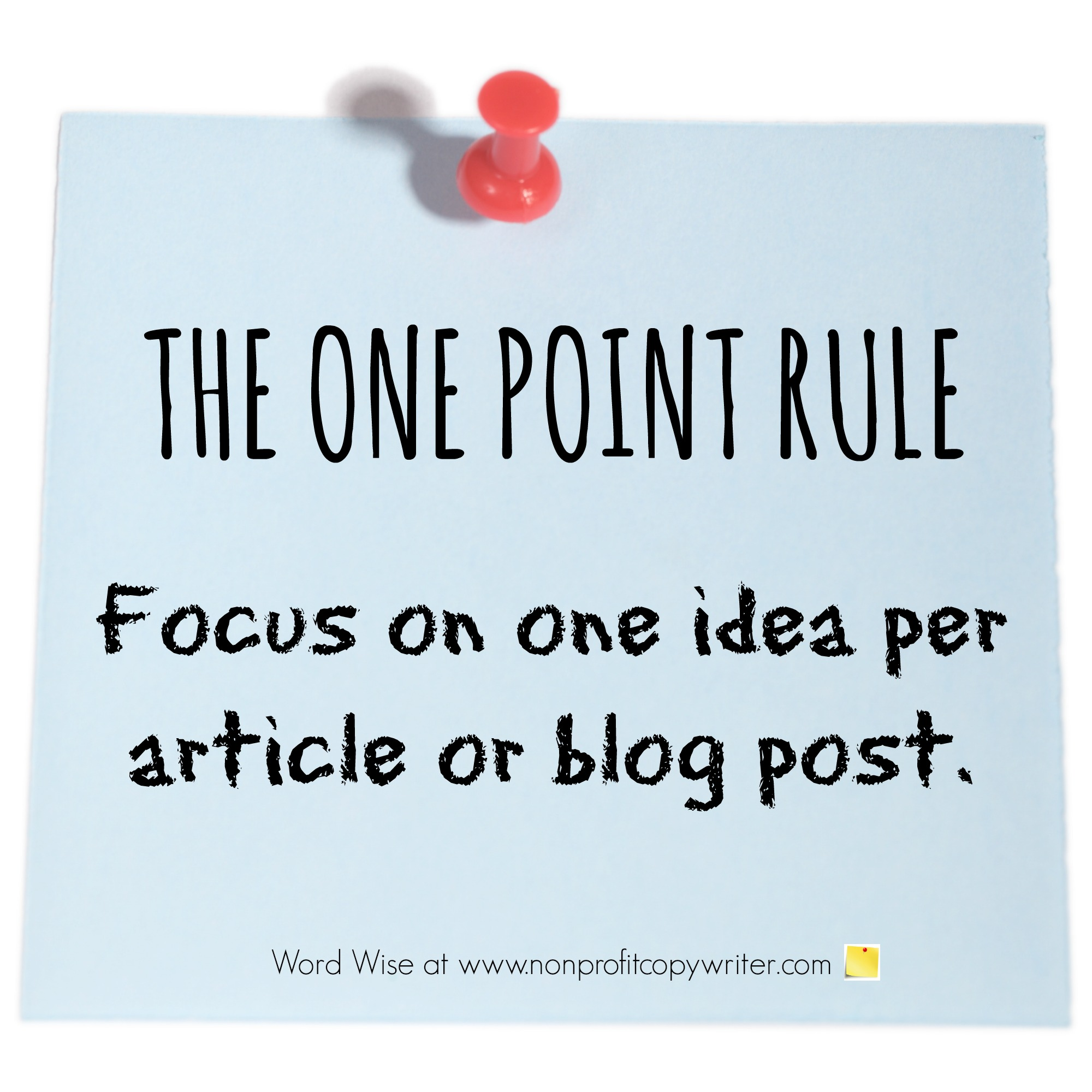 Top article writing tip: The One Point Rule with Word Wise at Nonprofit Copywriter