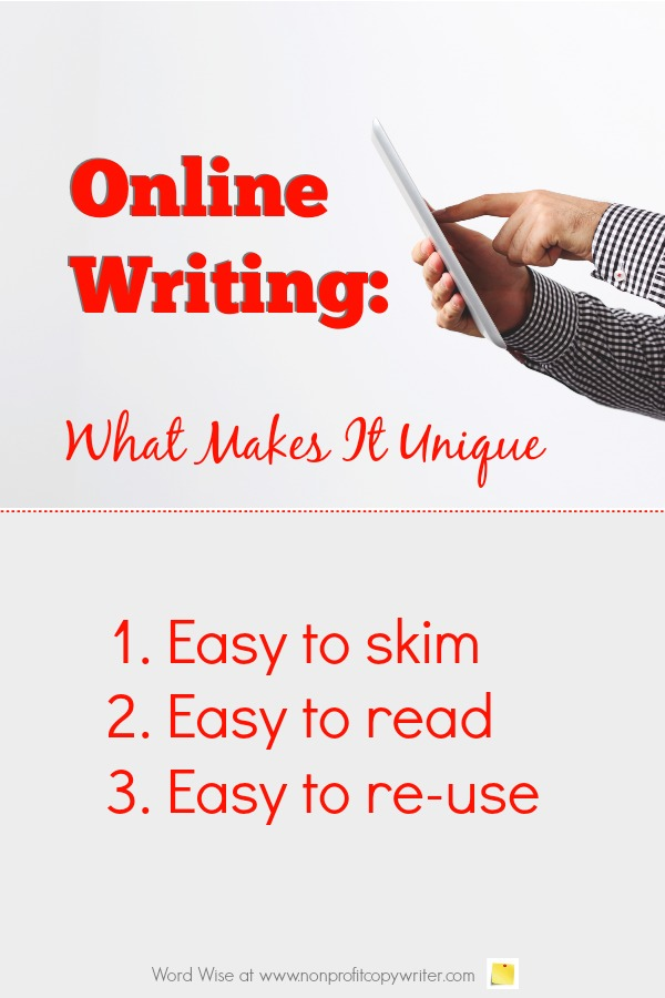 Online Writing: what makes it unique with Word Wise at Nonprofit Copywriter #WritingTips #ContentWriting