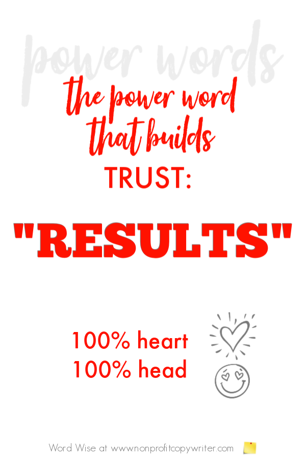 Results: A power word that builds trust with Word Wise at Nonprofit Copywriter #WritingTips #Copywriting