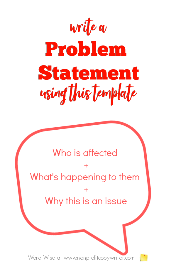 Problem statement template with Word Wise at Nonprofit Copywriter #WritingTips #WritingFormulas