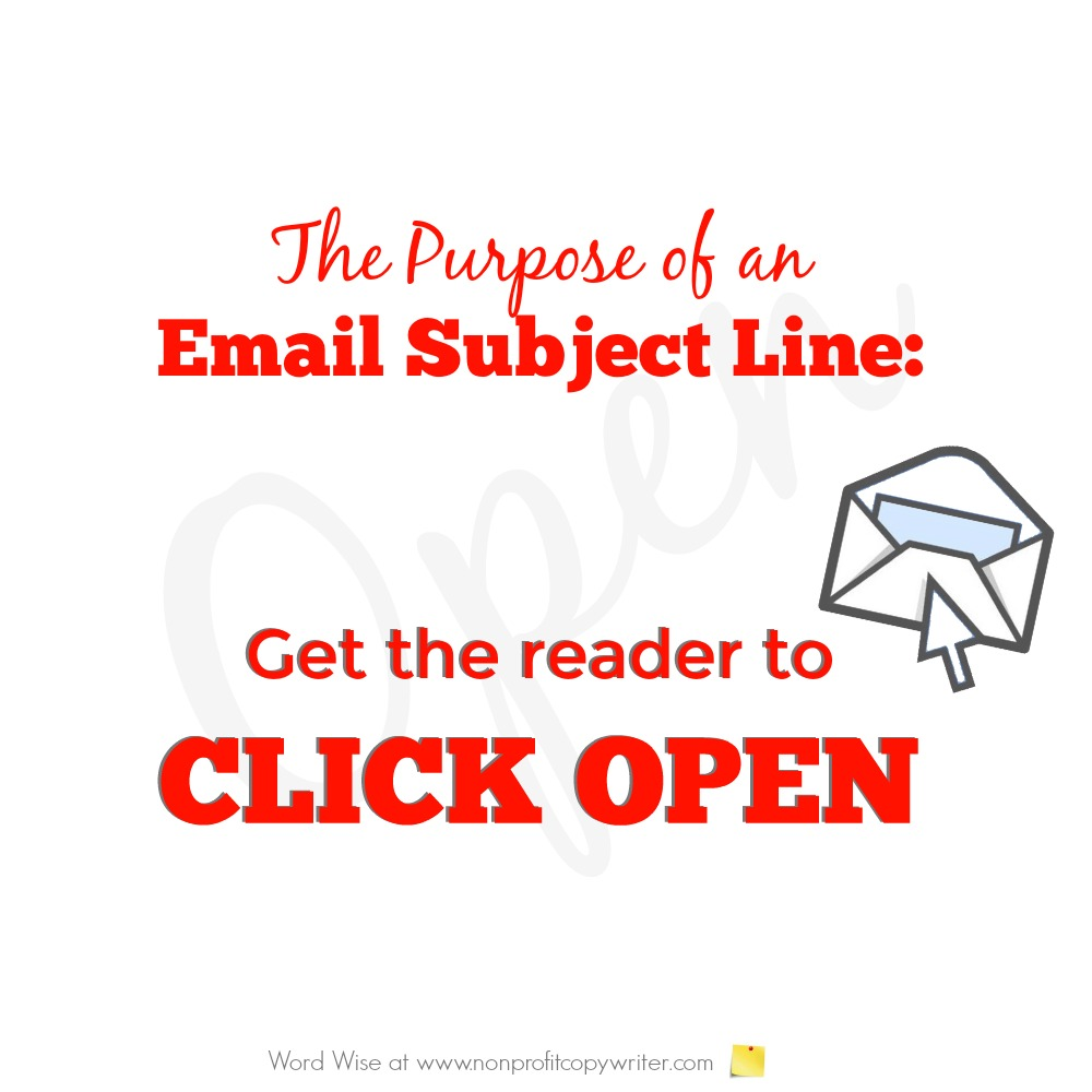 The purpose of an email subject line with Word Wise at Nonprofit Copywriter