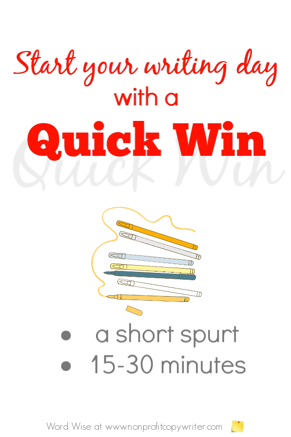 Start your writing day with a quick win with Word Wise at Nonprofit Copywriter #WritingTips #The WritingLife #FreelanceWriting