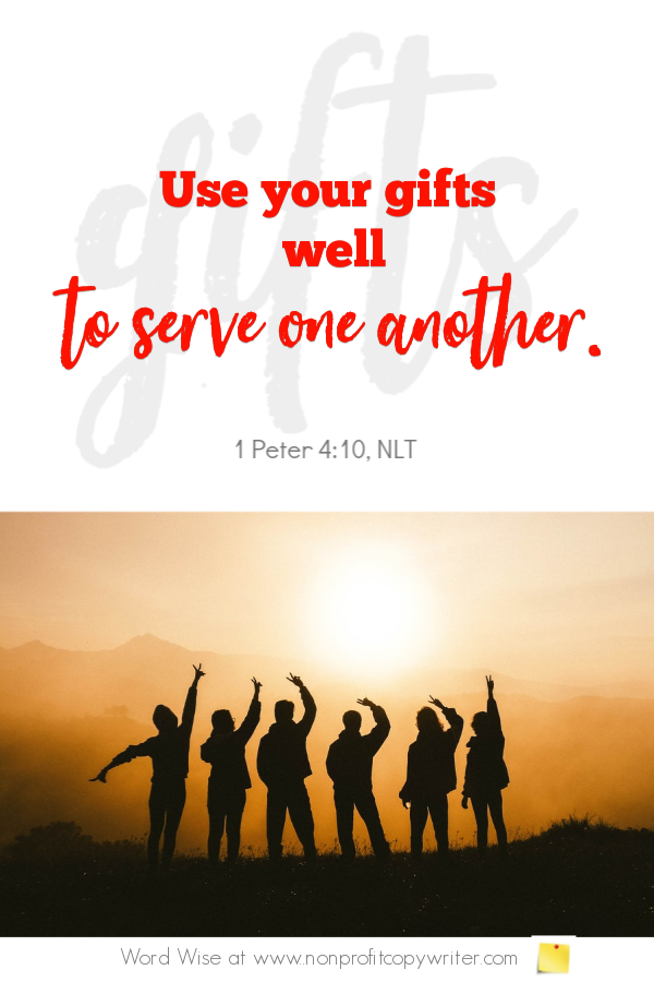 The Self-Promotion Trap: online devotional for writers based on 1 Pet 4:10 with Word Wise at Nonprofit Copywriter #ChristianWritingResources #FreelanceWriting