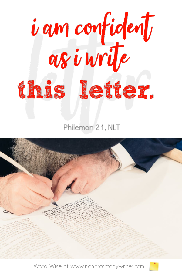 The Business Letter: a business writing tip in Paul's letter to Philemon. A #devotional for writers with Word Wise at Nonprofit Copywriter #ChristianWriting #FreelanceWriting