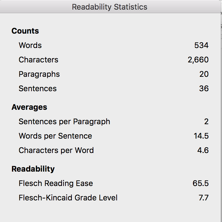 Readability Statistics with Word Wise at Nonprofit Copywriter