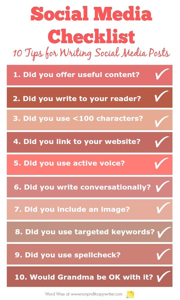 Social Media Checklist: 10 tips for writing social media posts with Word Wise at Nonprofit Copywriter