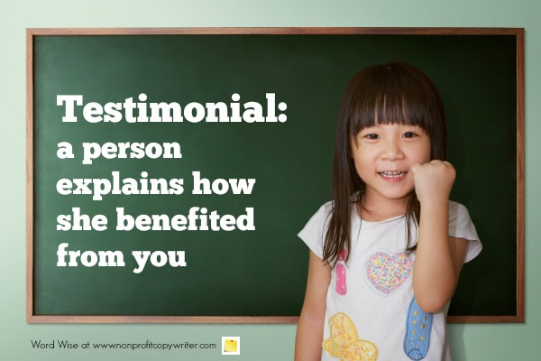 Harness the power of a testimonial with Word Wise at Nonprofit Copywriter