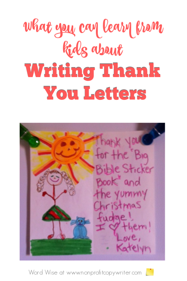What you can learn from kids about writing thank you letters with Word Wise at Nonprofit Copywriter #WritingTips