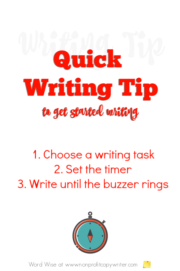 Quick Writing tip to get started writing with Word Wise at Nonprofit COpywrter