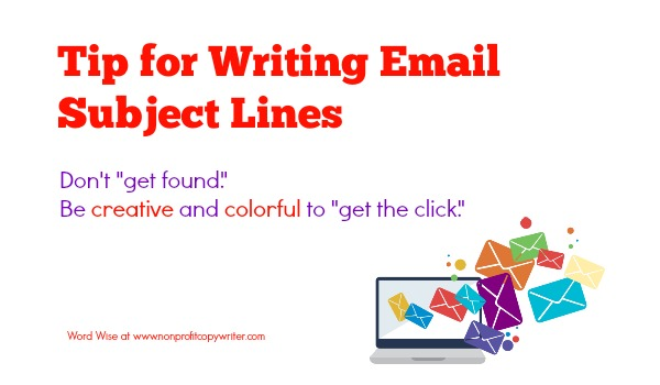 Tip for writing email subject lines with Word Wise at Nonprofit Copywriter