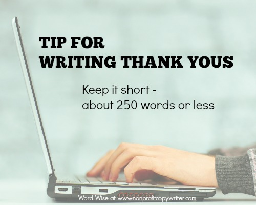 Tip for writing thank yous with Word Wise at Nonprofit Copywriter