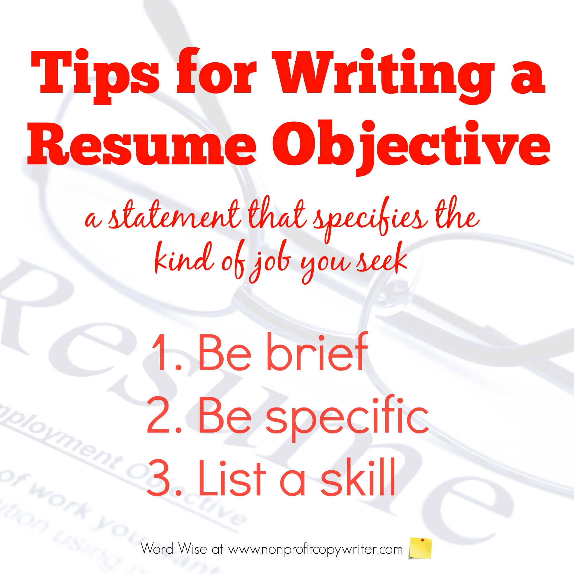 3 Tips for Writing a Resume Objective with Word Wise at Nonprofit Copywriter