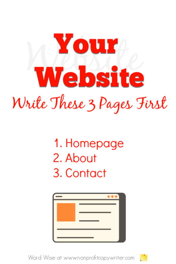 Writing websites: write these 3 pages first with Word Wise at Nonprofit Copywriter #WebWriting #FreelanceWriting #WritingTips