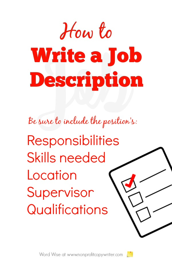How to write a job description: #WritingTips and Writing how-tos for #ContentWriting with Word Wise at Nonprofit Copywriter