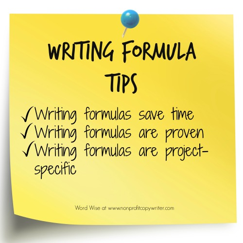 Writing formula tips from Word Wise and Nonprofit Copywriter