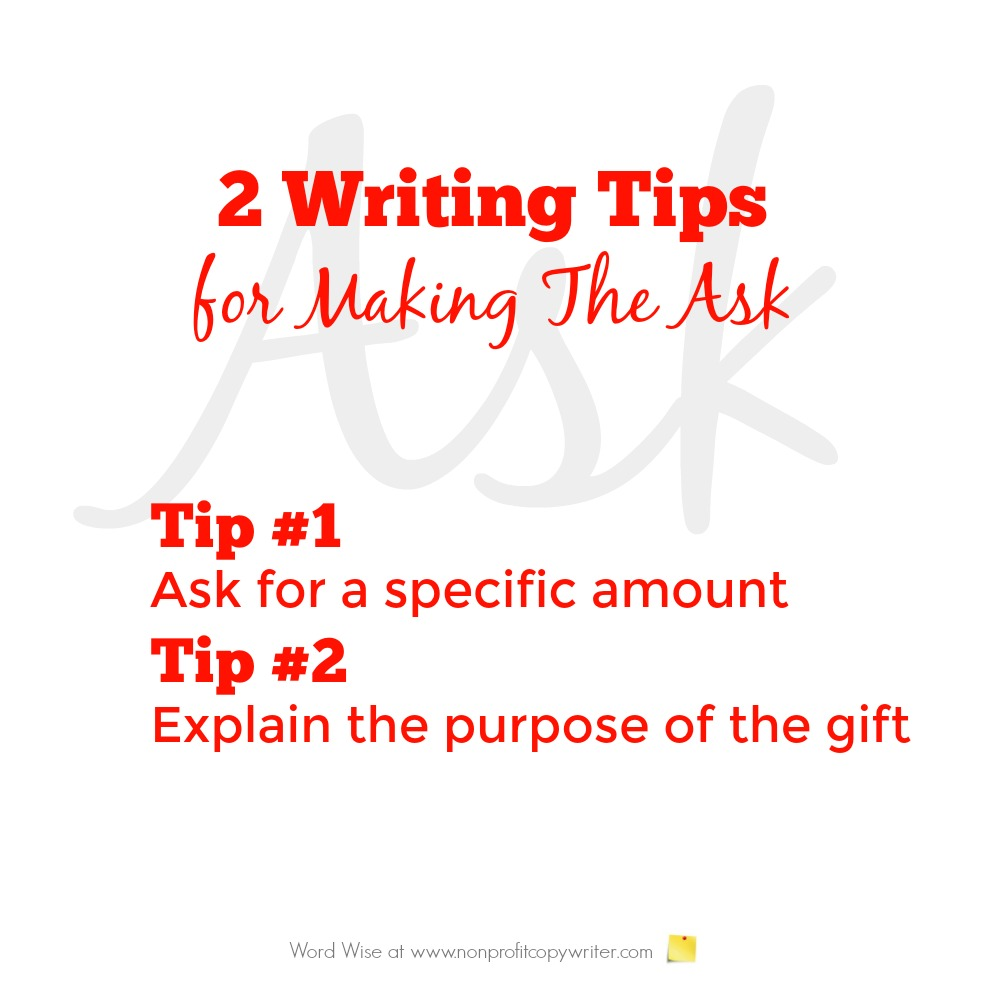 Two writing tips for making the ask with Word Wise at Nonprofit Copywriter