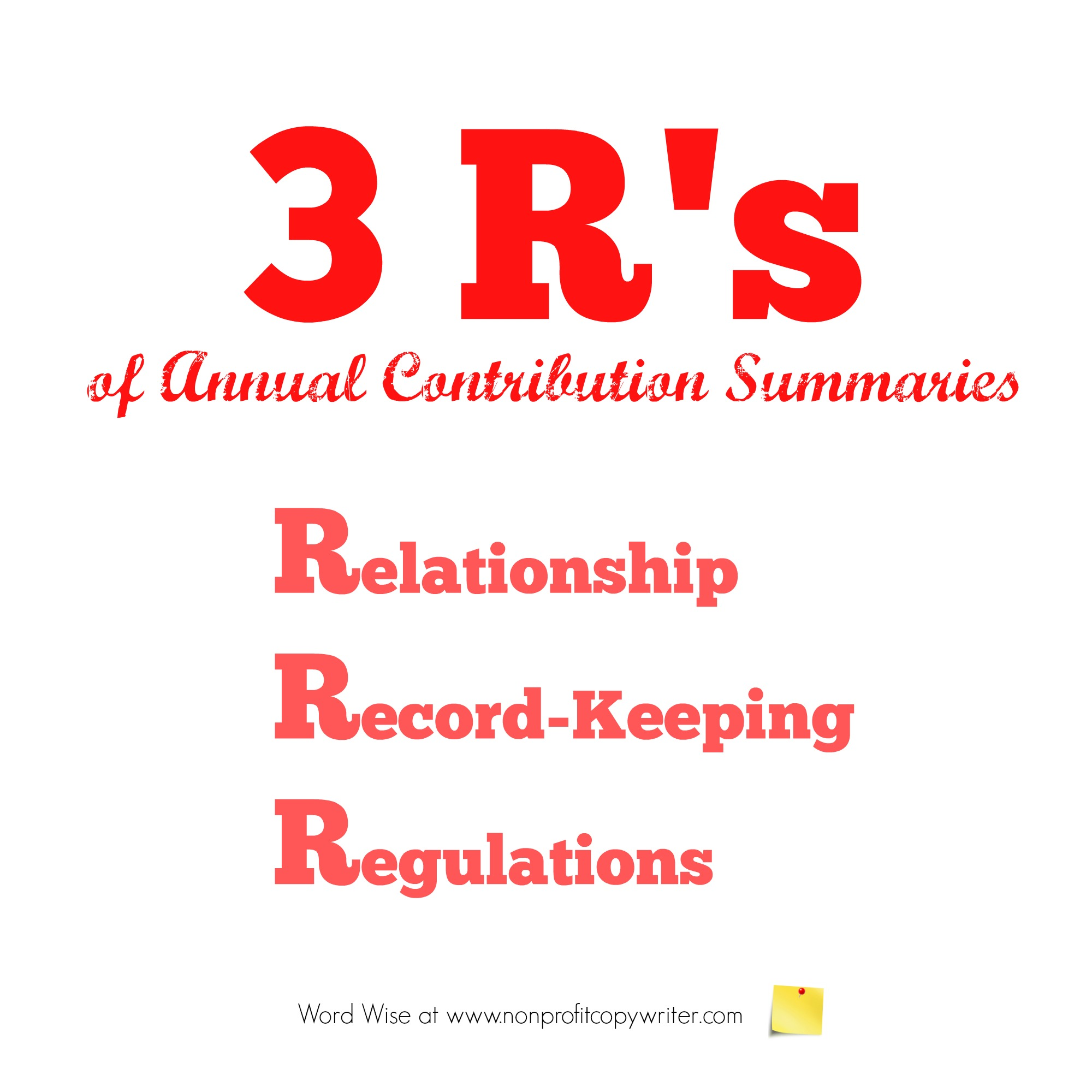 3 R's of Annual Contribution Summaries with Word Wise at Nonprofit Copywriter