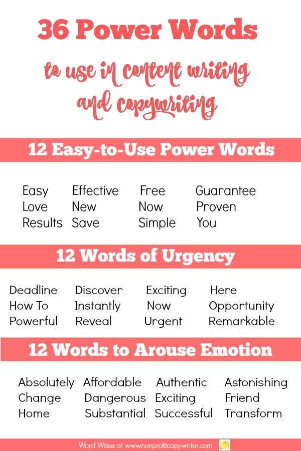 #Writing Tip! 36 power words to use in #content writing and #copywriting with Word Wise at Nonprofit Copywriter