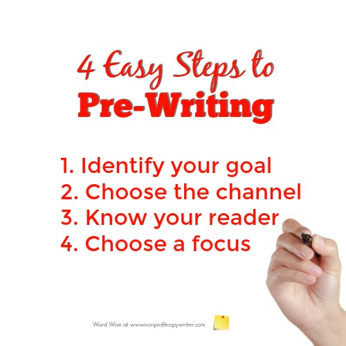 4 easy steps to pre-writing with Word Wise at Nonprofit Copywriter