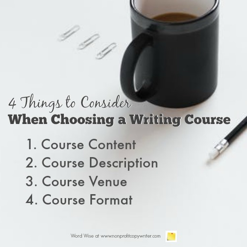 4 things to consider when choosing writing course with Word Wise at Nonprofit Copywriter
