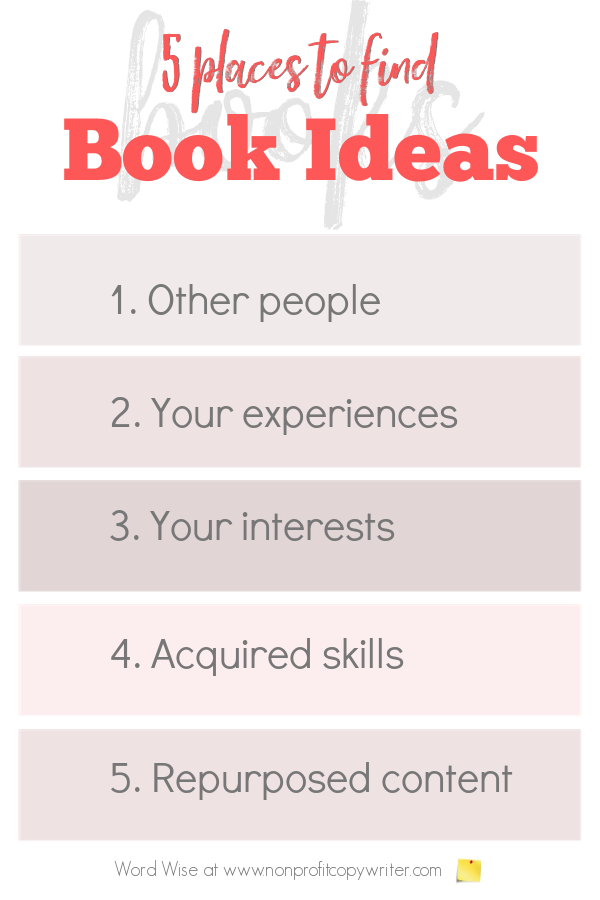 Book ideas: 5 places to find them with Word Wise at Nonprofit Copywriter #WritingTips #WritingABook