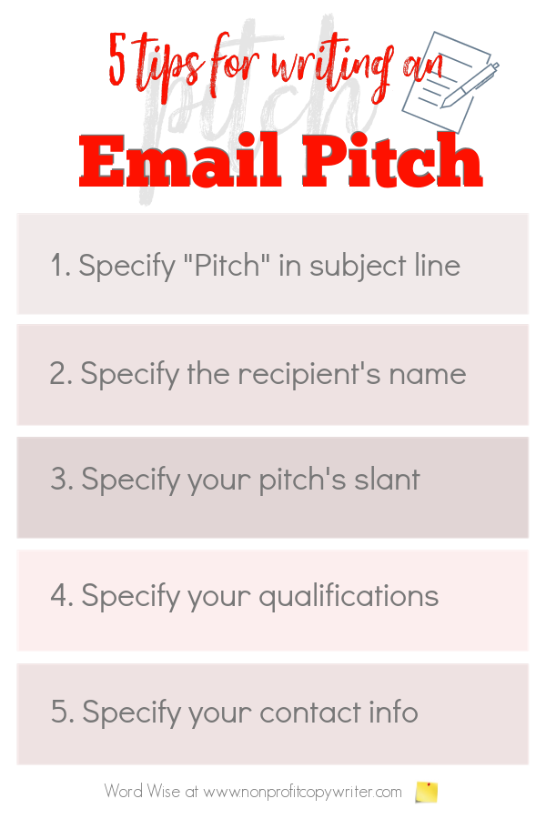 5 tips for writing an email pitch with Word Wise at Nonprofit Copywriter #FreelanceWriting