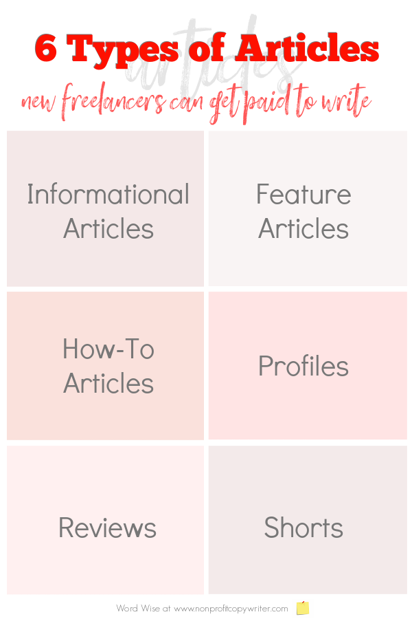 6 types of articles new #freelancers can get paid to write with Word Wise at Nonprofit Copywriter #FreelanceWriting #WritingTips