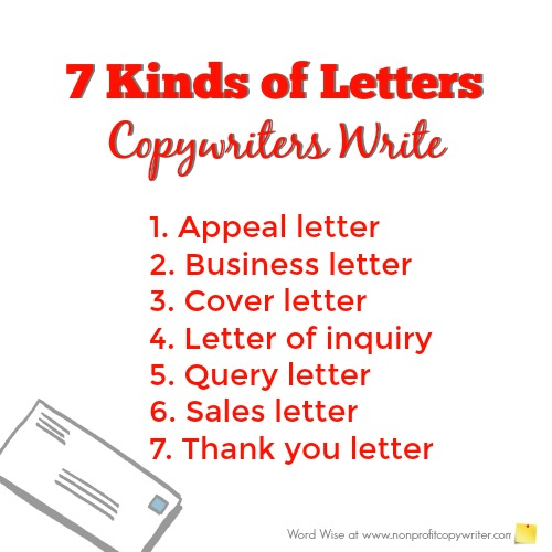7 kinds of letters copywriters write with Word Wise at Nonprofit Copywriter